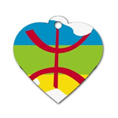 Kabylie Flag Map Dog Tag Heart (two Sides)