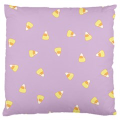 Candy Corn (purple) Large Flano Cushion Case (one Side) by JessisArt