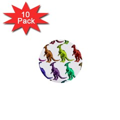 Multicolor Dinosaur Background 1  Mini Buttons (10 Pack)