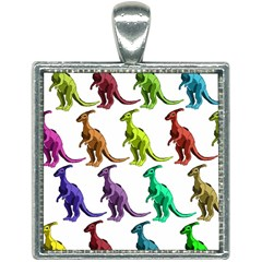 Multicolor Dinosaur Background Square Necklace by Jojostore