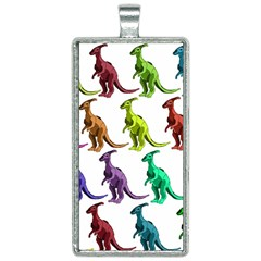 Multicolor Dinosaur Background Rectangle Necklace by Jojostore