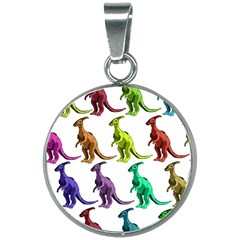 Multicolor Dinosaur Background 20mm Round Necklace by Jojostore