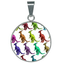 Multicolor Dinosaur Background 25mm Round Necklace by Jojostore