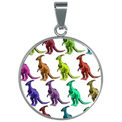 Multicolor Dinosaur Background 30mm Round Necklace by Jojostore