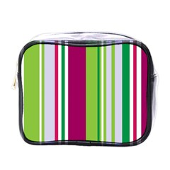 Beautiful Multi Colored Bright Stripes Pattern Wallpaper Background Mini Toiletries Bag (one Side)