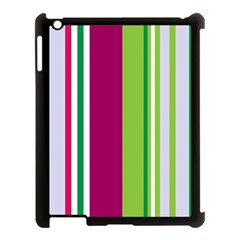 Beautiful Multi Colored Bright Stripes Pattern Wallpaper Background Apple Ipad 3/4 Case (black)