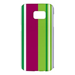 Beautiful Multi Colored Bright Stripes Pattern Wallpaper Background Samsung Galaxy S7 Edge Hardshell Case