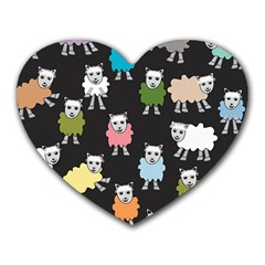Sheep Cartoon Colorful Heart Mousepads