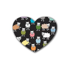 Sheep Cartoon Colorful Rubber Coaster (heart)  by Jojostore