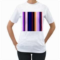 Fun Striped Background Design Pattern Women s T Shirt (white) (two Sided)