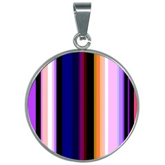 Fun Striped Background Design Pattern 30mm Round Necklace by Jojostore
