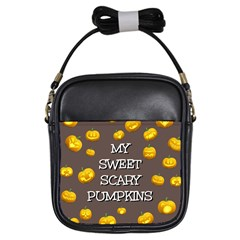 Scary Sweet Funny Cute Pumpkins Hallowen Ecard Girls Sling Bag by Jojostore