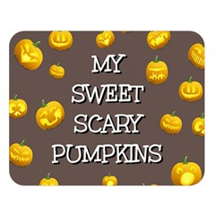 Scary Sweet Funny Cute Pumpkins Hallowen Ecard Double Sided Flano Blanket (large)