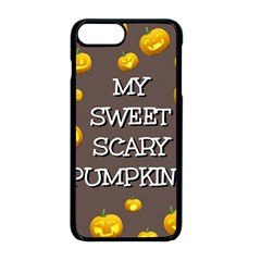 Scary Sweet Funny Cute Pumpkins Hallowen Ecard Apple Iphone 8 Plus Seamless Case (black)