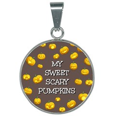 Scary Sweet Funny Cute Pumpkins Hallowen Ecard 25mm Round Necklace