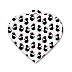 Cat Seamless Animal Pattern Dog Tag Heart (one Side)