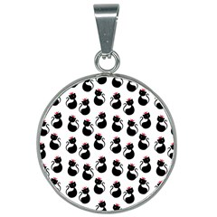 Cat Seamless Animal Pattern 25mm Round Necklace