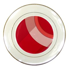 Red Material Design Porcelain Plates by Jojostore