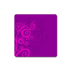 Floraly Swirlish Purple Color Square Magnet