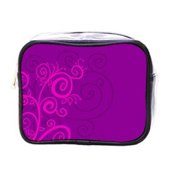 Floraly Swirlish Purple Color Mini Toiletries Bag (one Side) by Jojostore