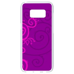 Floraly Swirlish Purple Color Samsung Galaxy S8 White Seamless Case