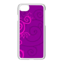 Floraly Swirlish Purple Color Apple Iphone 8 Seamless Case (white)