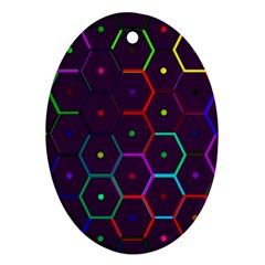 Color Bee Hive Pattern Ornament (oval) by Jojostore