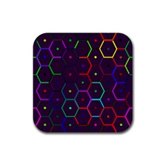 Color Bee Hive Pattern Rubber Square Coaster (4 Pack)