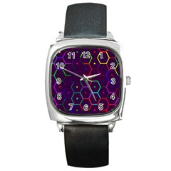 Color Bee Hive Pattern Square Metal Watch by Jojostore