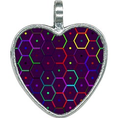 Color Bee Hive Pattern Heart Necklace by Jojostore