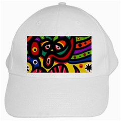 A Seamless Crazy Face Doodle Pattern White Cap by Jojostore
