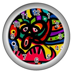 A Seamless Crazy Face Doodle Pattern Wall Clock (silver) by Jojostore
