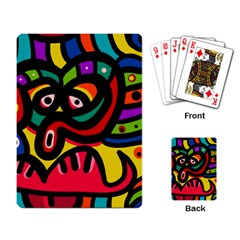 A Seamless Crazy Face Doodle Pattern Playing Cards Single Design by Jojostore