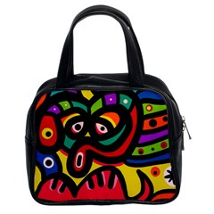 A Seamless Crazy Face Doodle Pattern Classic Handbag (two Sides)