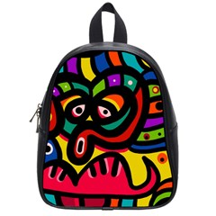 A Seamless Crazy Face Doodle Pattern School Bag (small) by Jojostore