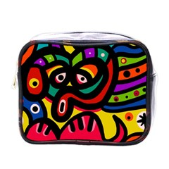 A Seamless Crazy Face Doodle Pattern Mini Toiletries Bag (one Side)