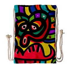 A Seamless Crazy Face Doodle Pattern Drawstring Bag (large) by Jojostore