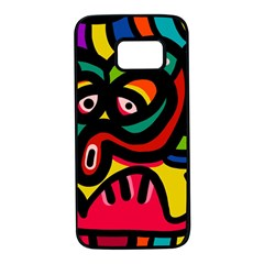A Seamless Crazy Face Doodle Pattern Samsung Galaxy S7 Black Seamless Case by Jojostore