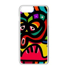 A Seamless Crazy Face Doodle Pattern Apple Iphone 7 Plus Seamless Case (white)