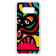 A Seamless Crazy Face Doodle Pattern Samsung Galaxy S8 White Seamless Case