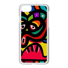 A Seamless Crazy Face Doodle Pattern Apple Iphone 8 Seamless Case (white) by Jojostore