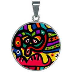A Seamless Crazy Face Doodle Pattern 30mm Round Necklace by Jojostore