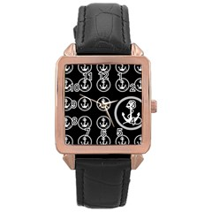 Anchor Pattern Rose Gold Leather Watch
