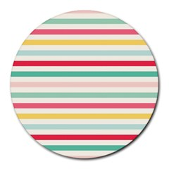 Papel De Envolver Hooray Circus Stripe Red Pink Dot Round Mousepads by Jojostore