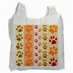 Paw Print Paw Prints Fun Background Recycle Bag (two Side) by Jojostore