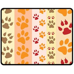 Paw Print Paw Prints Fun Background Fleece Blanket (medium)  by Jojostore