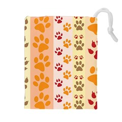 Paw Print Paw Prints Fun Background Drawstring Pouch (xl) by Jojostore