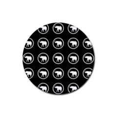 Elephant Wallpaper Pattern Rubber Coaster (round)  by Jojostore