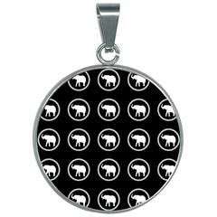 Elephant Wallpaper Pattern 30mm Round Necklace