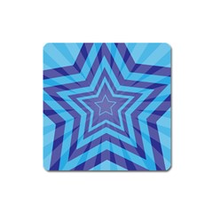 Abstract Starburst Blue Star Square Magnet